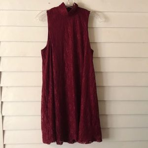 Maurice's dark red high neckline dress Medium